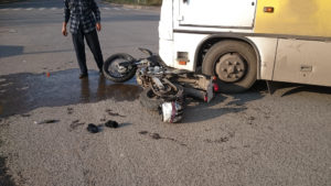 bus and motorcycle accident